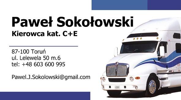 Paweł Sokołowski - Kierowca C+E